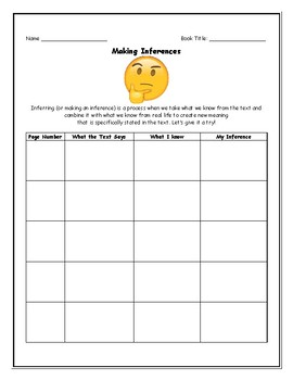 Making Inferences (Student Reading Sheet)