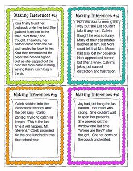 Making Inferences Task Cards & Worksheets