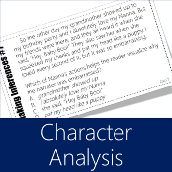 Making Inferences Task Cards 7 (STAAR Character Analysis)