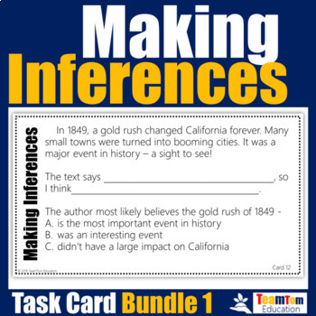 Making Inferences Task Cards Bundle #1