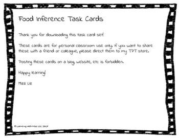 Making Inferences Task Cards: Food