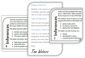 Making Inferences Task Cards (STAAR)