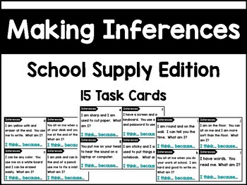 Making Inferences Task Cards - School Supply Edition