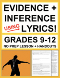Making Inferences & Text Evidence with SONG LYRICS: No Prep Lesson Plan