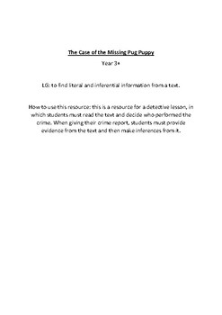 Making Inferences- The Case Of The Missing Pug Puppy