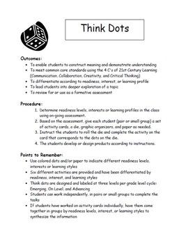 Making Inferences Think Dots for Grades 6, 7, 8