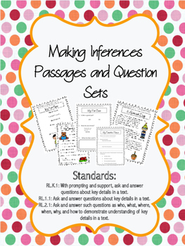 Making Inferences K-2 Leveled Passages and Question Sets