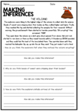 Making Inferences and Drawing Conclusions - Reading Worksheet