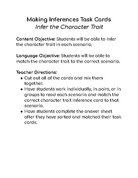 Making Inferences with Character Traits