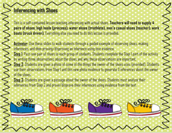 Making Inferences with Shoes (Real Shoes!)