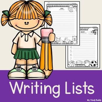 Writing Lists (Literacy Center Activities)