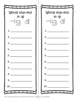 Writing Lists - Short Vowels Rhyming and Word Families
