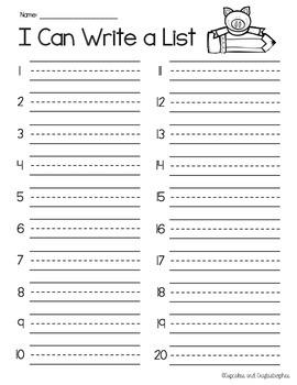 Making Lists (Work on Writing) {{FREEBIE}}