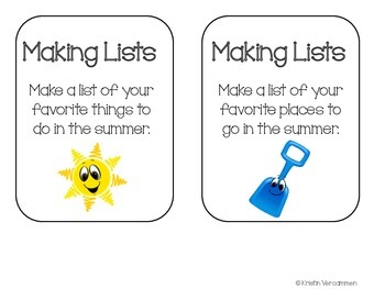 Making Lists Writing Center - August & September Themes