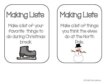 Making Lists Writing Center - December Theme