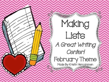 Making Lists Writing Center - February Theme