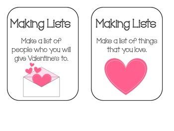 Making Lists Writing Center - February Theme