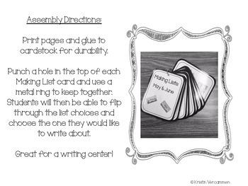 Making Lists Writing Center - January Theme
