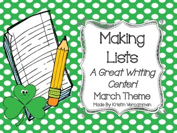 Making Lists Writing Center - March Theme