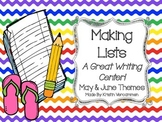Making Lists Writing Center - May & June Themes
