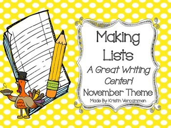 Making Lists Writing Center - November Theme