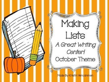 Making Lists Writing Center - October Theme