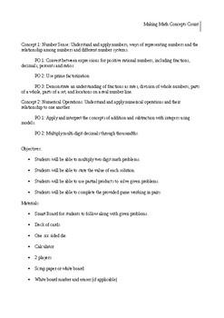 Making Math Concepts- Lesson Plans
