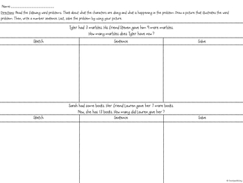1st Grade Word Problems: Sketch and Solve (Add/Subtract within 20)