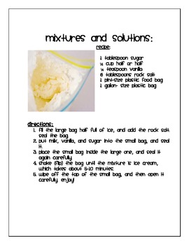 Making Matter Delicious: Mixtures and Solutions with Ice Cream