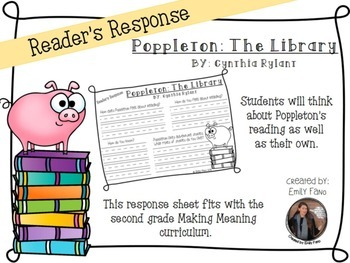 Making Meaning 2nd Grade: Poppleton: Reading Life with Response Sheet