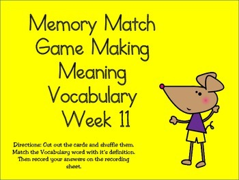 2nd Grade Making Meaning Vocabulary Week 11 Station Packet
