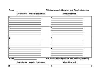 Making Meaning Assessment Questioning and Wondering
