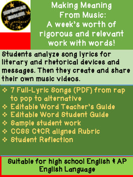 Making Meaning From Lyrics: Song Analysis Video Project AP Language HS English