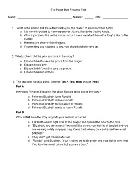 The Paper Bag Princess Comprehension Test