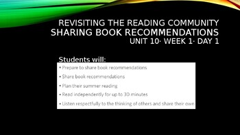 Making Meaning, Unit 10: Revisiting the Reading Community (Grade 6)