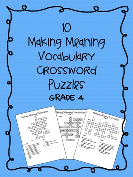 Making Meaning Vocabulary Crossword Puzzles