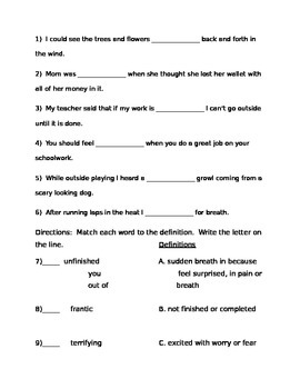 Making Meaning Vocabulary Quizzes Grade 3