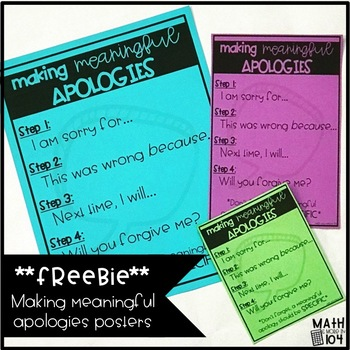 Making Meaningful Apologies Poster | 4 Step Apologies