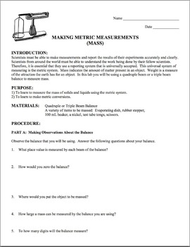 Mass Lab:   Making Metric Measurements Grades 7-10