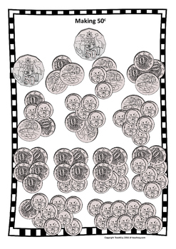 Making Money 5c, 10c, 20c, and 50c Australian coin Posters