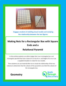 Making Nets for a Rectangular Box with Square Ends and a Relational Pyramid
