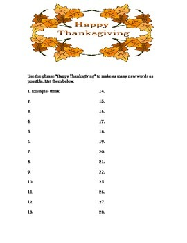 Making New Words- Happy Thanksgiving