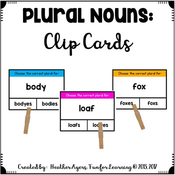 Making Nouns Plural: Clip Cards