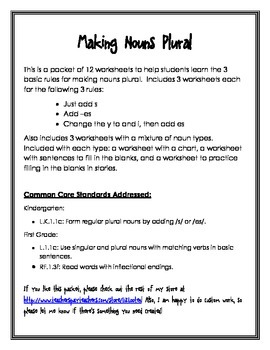 Making Nouns Plural Worksheet Packet