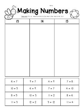 Making Numbers - 13, 14 and 15 - Number Sense Worksheet