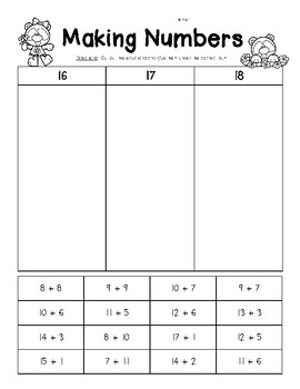 Making Numbers - 16, 17 and 18 - Number Sense Worksheet