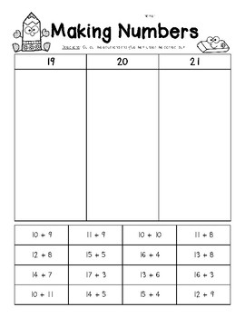 Making Numbers - 19, 10 and 21 - Number Sense Worksheet
