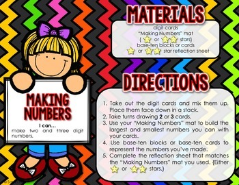 Making Numbers  - Back-to-School Place Value Center {Throu