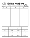 Making Numbers - Sums of 10, 11 and 12 - Number Sense Worksheet
