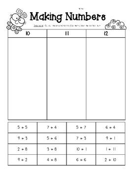 Making Numbers - Sums of 10, 11 and 12 - Number Sense Worksheet | TpT